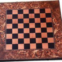 Ahşap satranç tablası marküteri uygulanmış